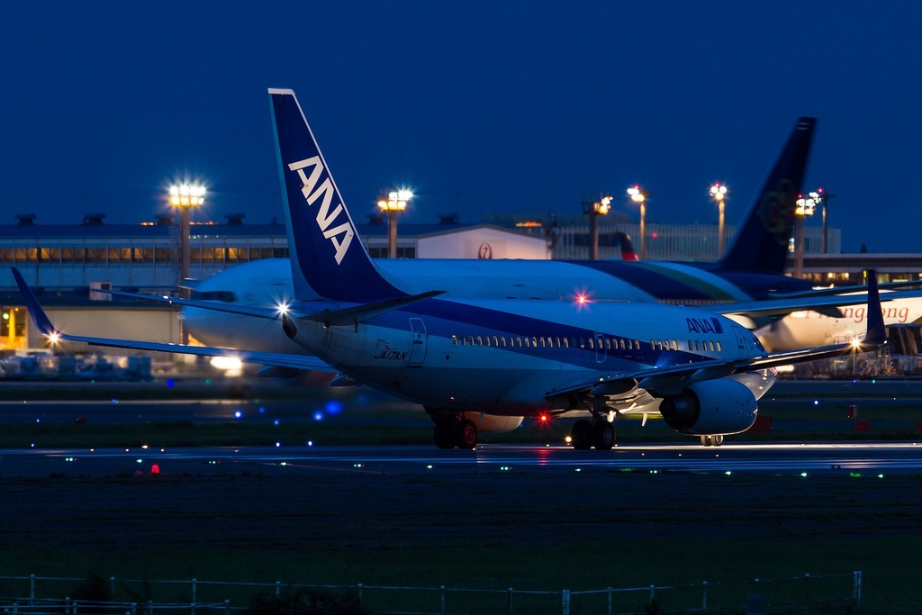 photo credit: ANA B737-700 line up for R/W16R. via photopin (license)
