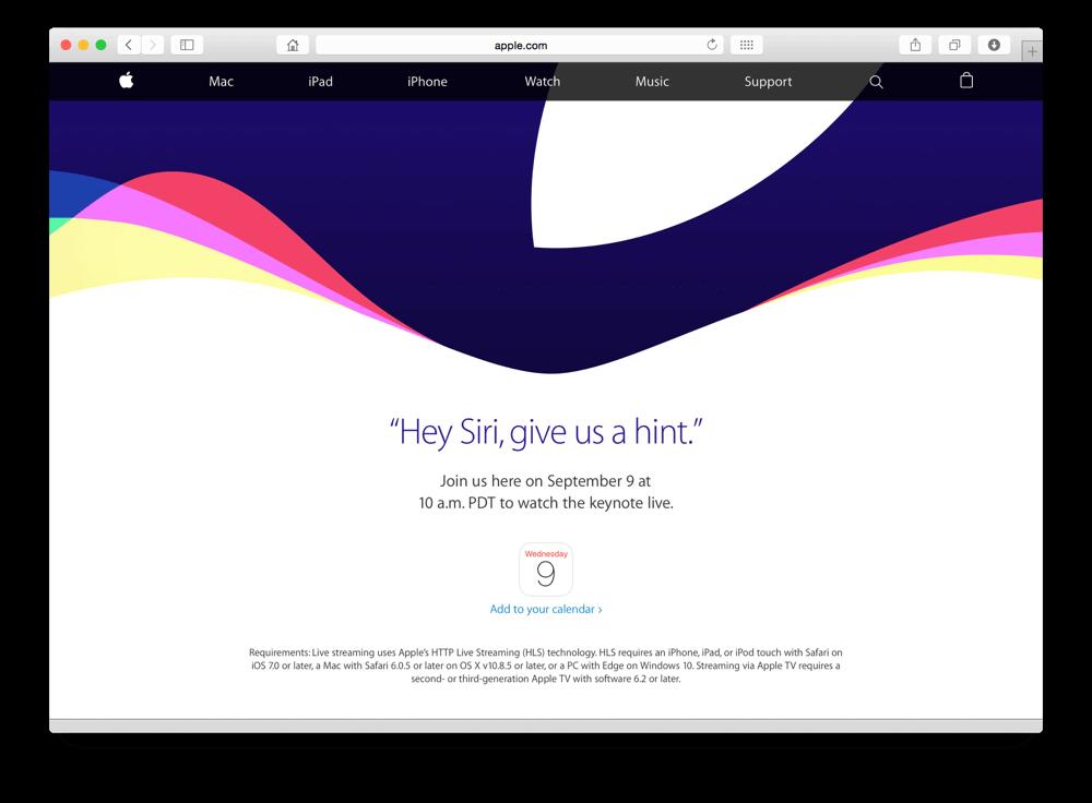 9月9日にAppleイベント開催決定!Siriに聞いたら答えてくれた!