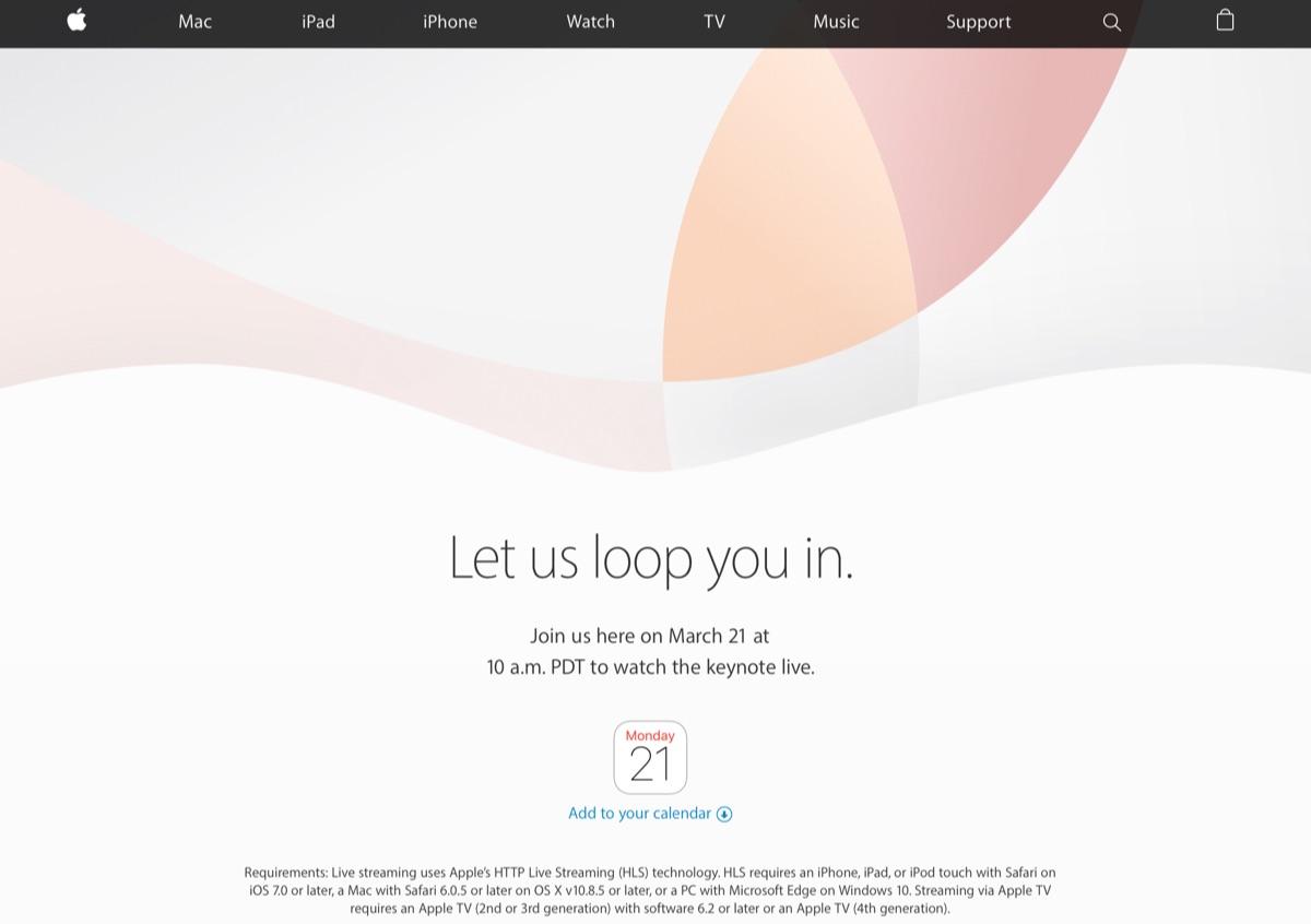アップルの新製品発表イベントが3月21日開催確定!新型iPhoneSE,小型iPad Pro,iOS9.3も登場か!?